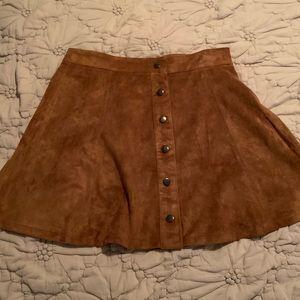 Brown Suede Circle Skirt